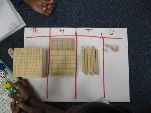 Base Ten Blocks showing