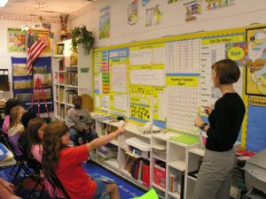 Teacher teaching a math lesson