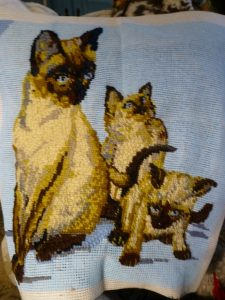 Needlepoint of cats
