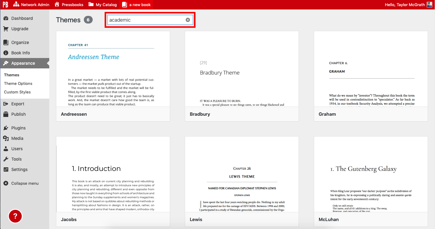 Themes page with search box highlighted