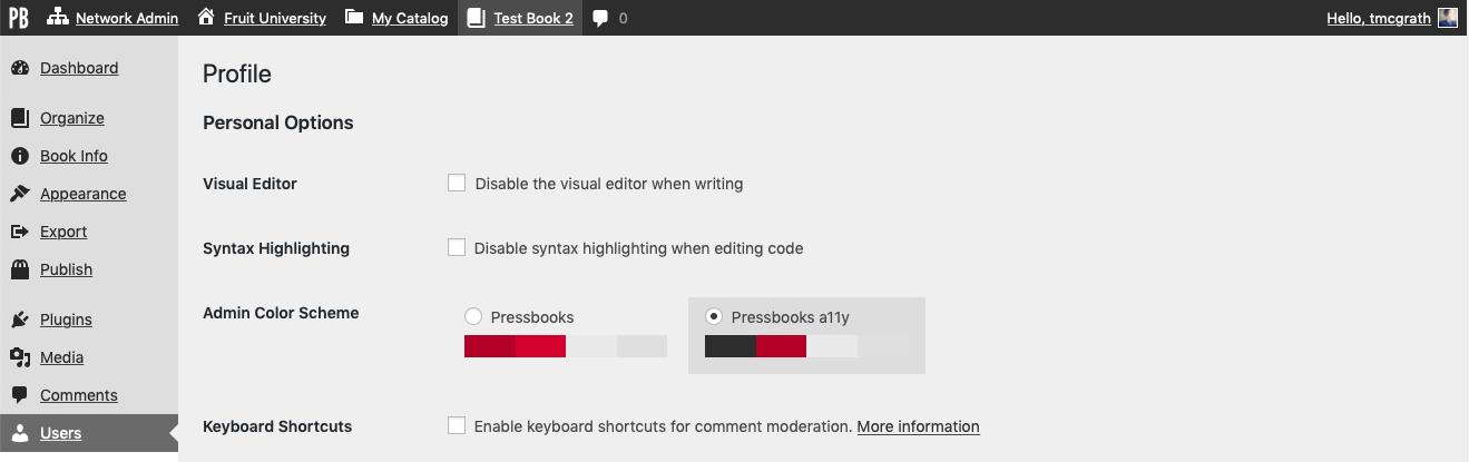 The Pressbooks a11y admin color scheme