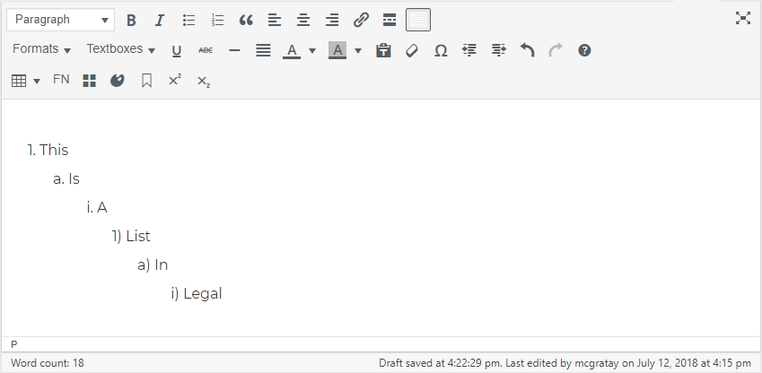 This is an ordered list in Legal style.