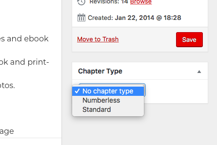 The Chapter Type menu in the chapter editor page