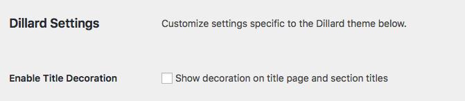 Dillard settings on the Global Theme Options page.