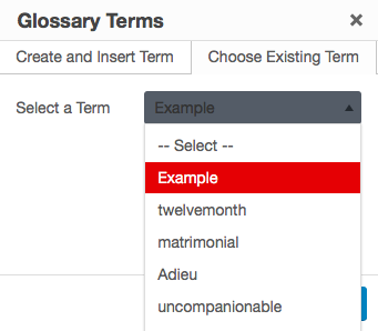 The Choose Existing Term tab on the Glossary Terms interface.