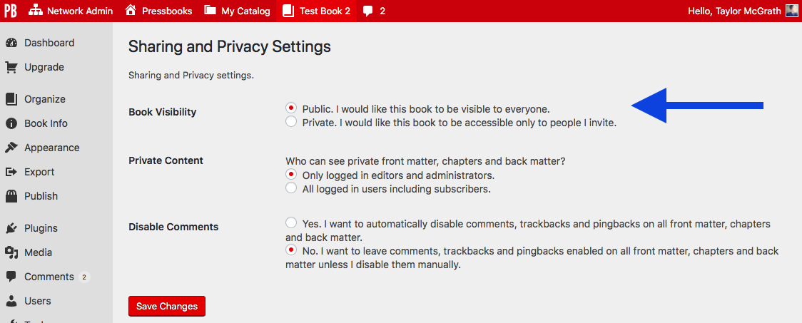 The global privacy setting on the Sharing and Privacy Settings page