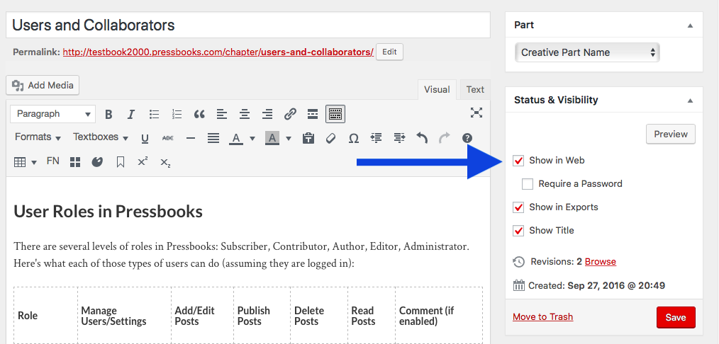 """The """"show in web"""" box in the Status & Visibility menu of the chapter editor"""
